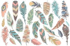 Tribal Feathers Clipart - Set of 31 Vector, PNG & JPG Files - Unique, Beautiful Boho Feather Clip Art in Coral, Navy, Mint and Gold Feather Clip Art, Feather Vector, Arrow Feather, Tribal Feather, Tribal Arrows, Woodland Critters, Drawing Clipart, Vector Clipart, Adobe Illustrator