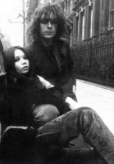 Syd Barrett with Iggy (Evelyn) outside of Wetherby Mansions, spring 1969. Evelyn lived at Syd's apartment for a short time and is on the back cover of 'The Madcap Laughs' album.
