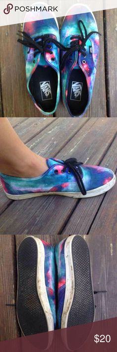 Authentic Galaxy Vans Needs a wash but in great used condition, sole has a lot of traction and colors are great for summer. Men's 8 women's 9.5 Vans Shoes Sneakers