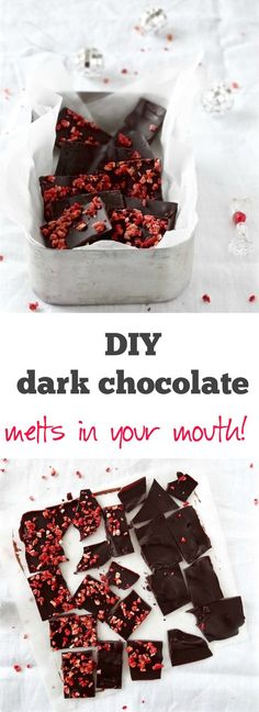 Easy 3 ingredient dark chocolate made from scratch - refined sugar free & gluten free   Plus Ate Six
