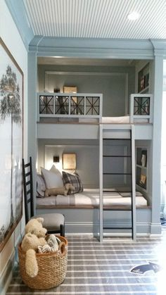 10 Design Trends that will Update Your Home - Lindsay Hill Interiors - Darling Steel Blue and Neutral children's room with pops of black and bunk beds - Bunk Bed Rooms, Kids Bunk Beds, Boys Bunk Bed Room Ideas, Build In Bunk Beds, Childrens Bunk Beds, Double Bunk Beds, Childrens Rooms, Blue Bedroom, Trendy Bedroom