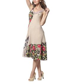 Look what I found on #zulily! Khaki Appliqué Patchwork A-Line Dress by Simply Couture #zulilyfinds
