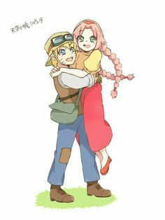 Naruto, Sakura, cute, Castle in the Sky, crossover, Studio Ghibli, outfits, couple; Naruto