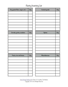 Free printable pantry list form to inventory what food you've got in your food cupboards or pantry right now, to help with meal planning, stockpiling, and not wasting food {courtesy of Home Storage Solutions Organization Lists, Household Organization, Organizing Tips, Organising, Household Notebook, Household Binder, Pantry Inventory, Pantry List, Home Management Binder