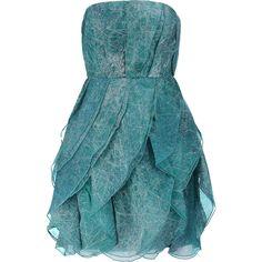 Halston Heritage Printed silk-organza mini dress (4,300 MXN) ❤ liked on Polyvore featuring dresses, short dresses, teal, blue fitted dress, loose dress, short blue dress and blue mini dress