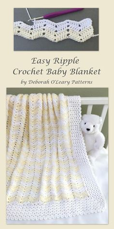 Crochet Baby Blanket Pattern   Easy Ripple - Chevron Baby Blanket by Deborah O'Leary Patterns #crochet #baby #blanket #patterns #chevron #ripple