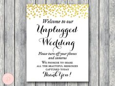 WD47c-Gold Unplugged Wedding Sign, Unplugged Ceremony