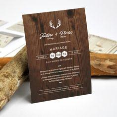 Faire part de mariage personnalisé rustique imprimé bois