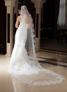 One-tier Cathedral Bridal Veils With Lace Applique Edge (006035831)