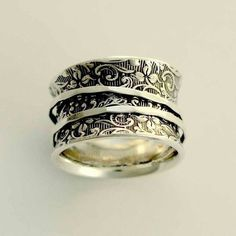 Silver Wedding Band, Silver Band, Spinners Ring, Silver Filigree Ring, Wide Silver Band, Oxidized Si
