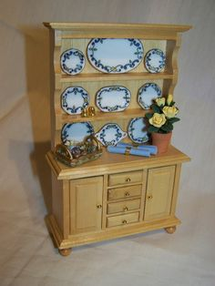 Dolls House Miniatures - Pine Dresser and Accessories. $47.50, via Etsy.