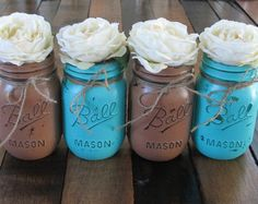 burlap & turquoise wedding invitations | Mason Jars, Decorative Mason Jars, Wedding Centerpieces, Teacher ...