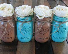 burlap & turquoise wedding invitations   Mason Jars, Decorative Mason Jars, Wedding Centerpieces, Teacher ...