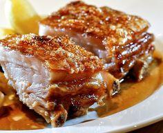 Slowly coked pork belly