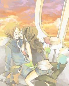 pokemon touko and touya kiss Pokemon Mew, Pokemon Hilda, Pokemon Noir, Pokemon Waifu, Black Pokemon, Pokemon Ships, Pokemon Fan Art, Pokemon Couples, Cute Anime Couples