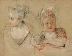 Antoine Watteau | 1684-1721 | Two Studies of the Head and Shoulders of a Little Girl | The Morgan Library & Museum