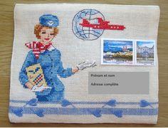 """Enveloppe brodée au point de croix """"Bon voyage"""", prête à l'envoi et personnalisable (sur commande)"""