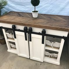 5ft sliding door console with oak chevron top. #furniture #rustic #oak #slidingdoors #console #tvstand #nashville #southernsapww