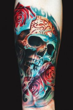 Colorful skull tattoo by Remis