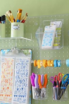 A pegboard is fantastic for organizing craft supplies- Image via alkemie.blogspot.com