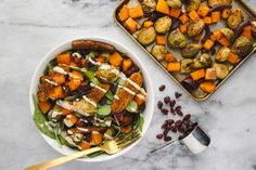 This Fall Vegetable Salad is piled high with Roasted Brussels Sprouts, Butternut Squash, and Smoky Tempeh, plus drizzled with an Easy Tahini Dressing. YUM!