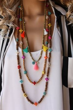 3 PCS Wooden Tassel Long Boho Necklace Set, Bohemian Necklace,Hippie Style