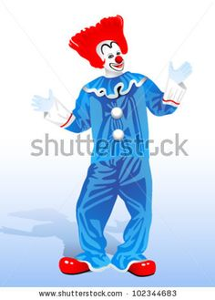 clown with red hair and blue suit