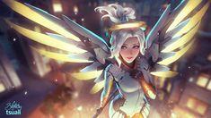 Mercy by tsuaii, Mercy Fan Art, Overwatch Fan Art, Digital Painting, Angel, Games, Gaming