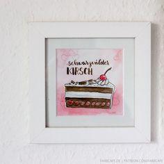 Kuchen-Illustration für Küche, Büro oder Esszimmer.  Herstelllungsart Handgemaltes Original, aquarelliert von FarbCafé Julia Faßhauer ©, nur einmal verfügbar; Originalbild (dies ist kein...