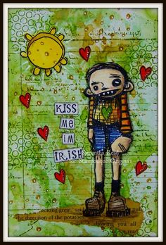 Artwork created by Samantha Read using rubber stamps designed by Daniel Torrente for Stampotique Originals
