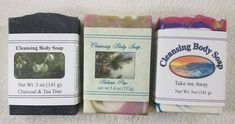 The first soap is Charcoal with Tea Tree, the second is Balsam Pine and the third is called Take me away. All wonderfully smooth and make great lather. Body Soap, Body Cleanse, Tea Tree, Soaps, Pine, Third, Charcoal, Two By Two, Smooth