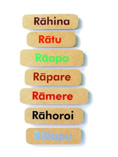 Constructed from hard wearing custom board, these Maori Days of the Week signs are painted in seven different colours with strong magnetic discs on the reverse side. Child-proof and easy for small hands to handle. Maori Designs, Childproofing, Early Childhood Education, Classroom Themes, Educational Activities, Fun Learning, Teacher Resources, Different Colors, Magnets