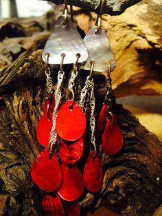 Mixed metal and shell dangle earrings by HandmadeByValerieK