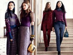 Gustav Klimt and René Lalique were the muses behind Tory Burch's fall collection. Romance is epitomized in the form of Art Nouveau inspired prints and sumptuous textures in rich colors like navy, bordeaux, plum, gold and black. #CAbi is right on trend using the same gorgeous colors!