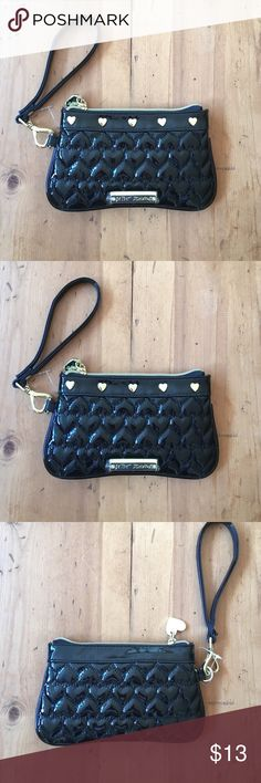 Betsey Johnston Wrislet Never used still has plastic cover on label gold heart accents 8 in wide 5in deep Betsey Johnson Bags Clutches & Wristlets