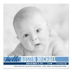 Modern Tones Birth Announcements - Blue! Make your own invites more personal to celebrate the arrival of a new baby. Just add your photos and words to this great design.