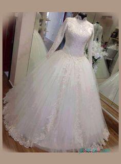 Modest high neck long sleeved ball gown wedding dress