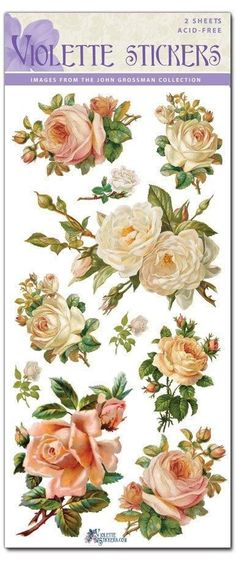 White Roses Victorian Stickers