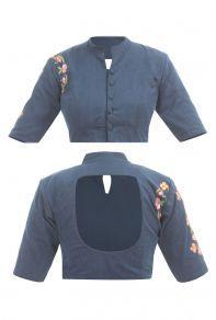 Blue Plain Denim Qaurter Sleeves Short Collar Blouse Catalog No : 7829 Simple Blouse Designs, Saree Blouse Neck Designs, Stylish Blouse Design, Choli Designs, Collar Blouse, Blouse Dress, Baby Dress Design, Designer Blouse Patterns, Blouse Styles