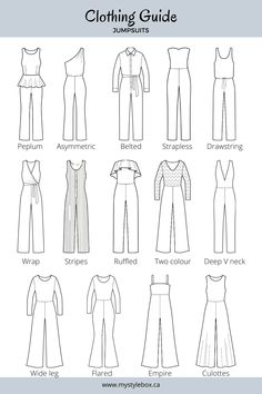 Types of Jumpsuits Dress Design Drawing, Dress Design Sketches, Fashion Design Sketchbook, Fashion Illustration Sketches, Fashion Design Drawings, Fashion Sketches, Fashion Terms, Fashion Terminology, Fashion Drawing Tutorial