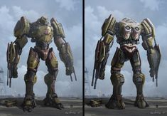 Valor Omega was one of the Jaegers I had designed for Pacific Rim Uprising. The Jaeger is heavily armored that focuses on firepower. Production Designer: Stefan Dechant Art Director: Thang Le Developed at the ILM Art Department Pacific Rim: Uprising 2018 Godzilla, Pacific Rim Jaeger, Big Robots, Mecha Suit, Arte Robot, Vaporwave Art, Cool Monsters, Sci Fi Armor, Future Soldier