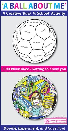 Back to School Fun Art 'All About Me' Soccer Ball Doodle Activity 'A Ball About Me', a fun first week back to school art activity. This soccer ball template invites children to respond to prompts in a personal, imaginative way using doodles, mark making, First Day Of School Activities, 1st Day Of School, Beginning Of The School Year, School Fun, Art School, Middle School, School Hacks, Back To School Ideas For Teachers, Back To School Crafts For Kids