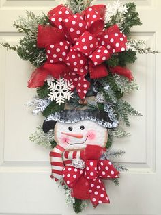 Snowman Christmas or Winter Pine Wreath Swag by WilliamsFloral Christmas Mesh Wreaths, Christmas Swags, Christmas Door Decorations, Christmas Snowman, Christmas Ornaments, Winter Wreaths, Door Wreaths, Wreath Crafts, Christmas Projects