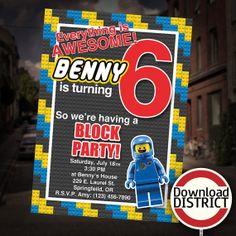 The Lego Movie Birthday Party Invitation - Boy's Benny Block Party Customized Printable Invitation