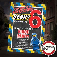 The Lego Movie Birthday Party Invitation - Boy's Benny Block Party Customized Printable Invitation