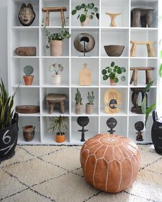#shelfie - collections+plants, moroccan rug, moroccan pouf - : @apartmentf15