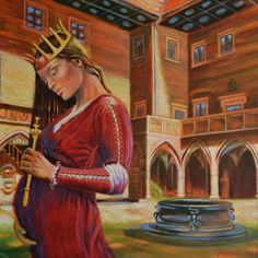 """Queen Jadwiga"" (""Królowa Jadwiga"") Halina Kazmierczak - oil painting on canvas, 70x70 cm"