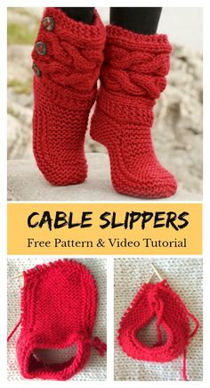 Knitting and Crochet Slippers - Cable Slippers Free Knitting Pattern and Video Tutorial.This Cable Slippers Free Knitting Pattern and Video Tutorial is a fashionable way to keep your feet warm during the chilly days. Make one now with the free pattern pro Knitted Booties, Crochet Boots, Knit Shoes, Knitted Slippers, Knit Crochet, Slipper Socks, Crochet Granny, Knit Slippers Free Pattern, Crochet Slipper Pattern