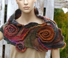 Crochet Scarf Woman winter fashion Gift Crochet button by Degra2