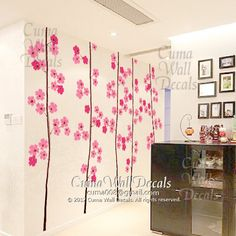 wall decals tree vinyl wall decals flowers wall sticker stencil maurals wall vinyl decal- 5 cherry blossom trees Z103. $89.00, via Etsy.